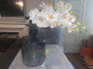 Beautiful light blue vase with White artificial flowers! Beautiful!! for Sale in Whittier, CA