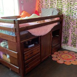 Bunk Bed Style Bed With Mattress And Lots Of Cabinet Space for Sale in Fremont,  CA