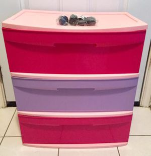 Pink plastic 3 drawer cart ' like new wheels still in plastic bag for Sale in Murphy, TX