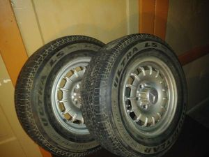 2 Used Rims / 2 NEW Tires - 14in Mercedes Old Style / Goodyear Tires P205 / 70R14 for Sale in Cleveland, OH