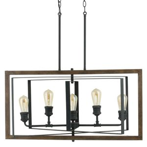 H.D.C. Palermo Grove 31.88 in. 5-Light Black Gilded Iron Linear Dining Table Chandelier for Sale in Dallas, TX