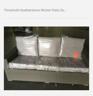 Threshold Heatherstone Wicker Patio Sofa with Beige Cushions for Sale in Houston, TX