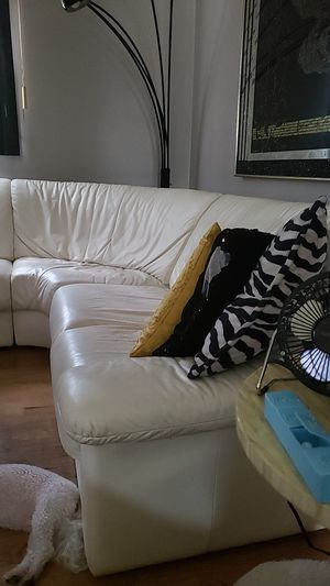 White leather couch for Sale in Detroit, MI
