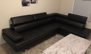 2 piece black leather sectional for Sale in Portland, OR