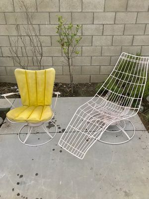 Two vintage mid century wrought iron lounge chairs pool chairs or patio chairs for Sale in Santa Ana, CA