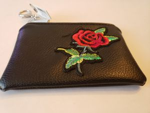 Small imitation leather pouch with a rose and keychain ring for Sale in Plainville, CT