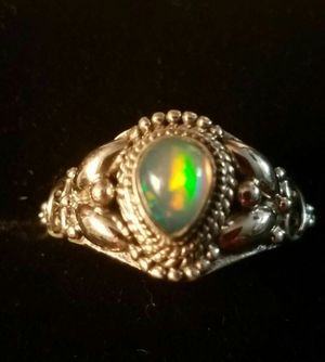 Beautiful Genuine Natural Ethiopian Fire Opal Sterling Silver Ring Size 7 for Sale in Lake Stevens, WA