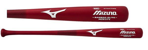 Red Mizuno Wood Baseball Bat 34 inch