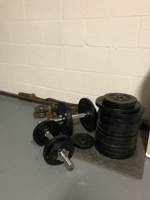 200 pounds of weight, dumbbells with olympic bar and curl bar for Sale in Riverview, FL