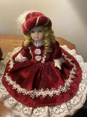 Venetian porcelain doll in velvet dress for Sale in Alexandria, VA