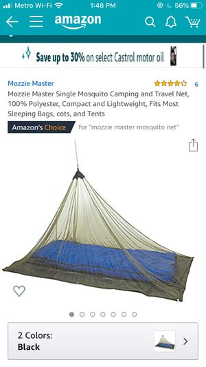 Mozzie Master Single Mosquito Camping and Travel Net, 100% Polyester, Compact and Lightweight, Fits Most Sleeping Bags, cots, and Tents for Sale in Brandon, FL