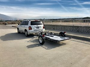 Motorcycle trailer tows 3 motorcycles rated for 2000lb folds for storage for Sale in Long Beach, CA