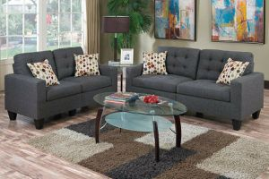 No credit needed blue gray linen like fabric sofa and loveseat includes accent pillows for Sale in College Park, MD