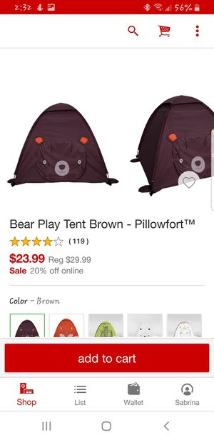 Bear Play Tent - Brown Pillowfort for Sale in San Antonio, TX