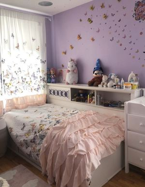 Girls white twin bed with storage drawers and bookcase for Sale in Brooklyn, NY