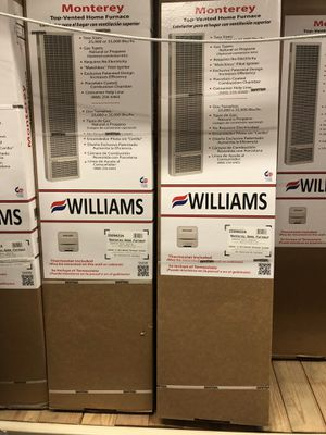 WILLIAMS 35.000 BTU/HOUR MONTEREY TOP VENT-GRAVITY FURNACE NATURAL GAS HEATER WITH WALL OR CABINET mounted thermostat for Sale in Los Angeles, CA