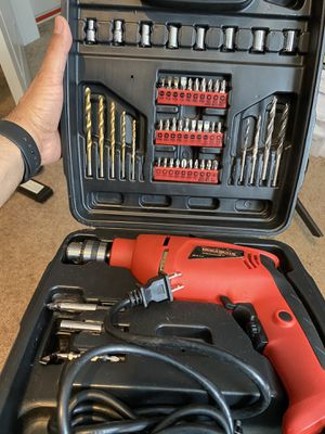 Electric drill set with drill bits and case used twice to fix around home for Sale in Pasadena, CA
