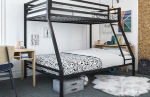 New!! Bed, full bed, twin bed, twin over full bunk bed, bunk bed, metal full bunk bed, bedroom furniture , black for Sale in Phoenix, AZ