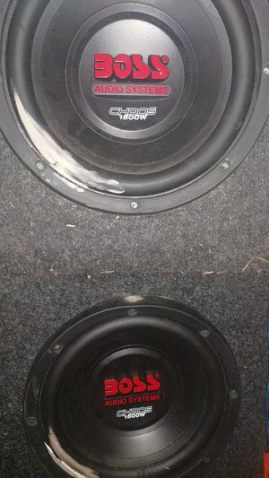 10 inch boss chaos 1500 watt subwoofers and two single boxes for Sale in Montgomery, AL