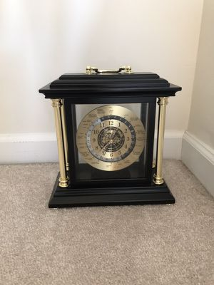 Bombay Company Brass and brown mantle clock for Sale in Chantilly, VA