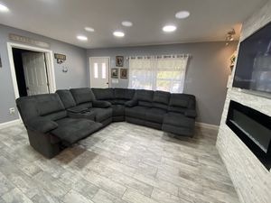 New Beautiful Sectional 4 Recliners Massage FREE DELIVERY SET UP for Sale in TWN N CNTRY, FL