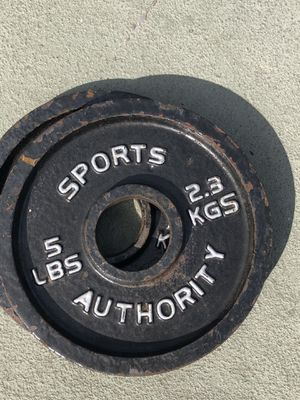 Multiple pairs of 5lbs Olympic weight plates for Sale in Tampa, FL