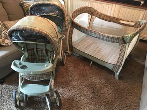 Double Stroller. Graco Duo Glider and matching Graco packnplay for Sale in Virginia Beach, VA
