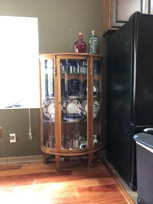 Antique oak curved glass cabinet for Sale in Oviedo, FL