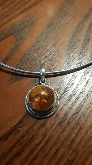 Gorgeous Sterling Silver 925 Amber pendant with Sterling Silver 925 necklace. for Sale in New York, NY