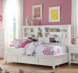 NEW White Storage Twin SIZE Bookcase Daybed for Sale in Chula Vista, CA