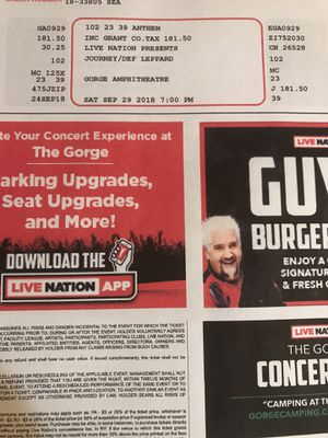 Two- Journey / Def Leppard ticket for this Saturday at the Gorge. for Sale in Duvall, WA