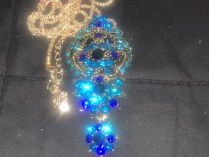 Betsy Johnson blue crystal antique style flower 🌸 pendant brooch chain for Sale in Downers Grove, IL