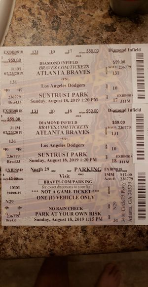 Braves Dodgers Tickets Sunday 8/18/19 for Sale in McDonough, GA