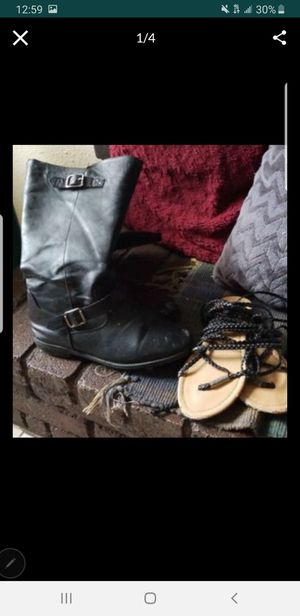Girls size 6 shoes one pair of shades and one pair of boots asking 5 for Sale in San Antonio, TX