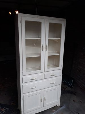 Antique cabinet glass windows and drawers for Sale in Queens, NY