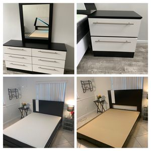 New queen 6 pieces bedroom set FREE DELIVERY and installation. Bed frame, mattress, chest, night stand , dresser and mirror for Sale in Hollywood, FL