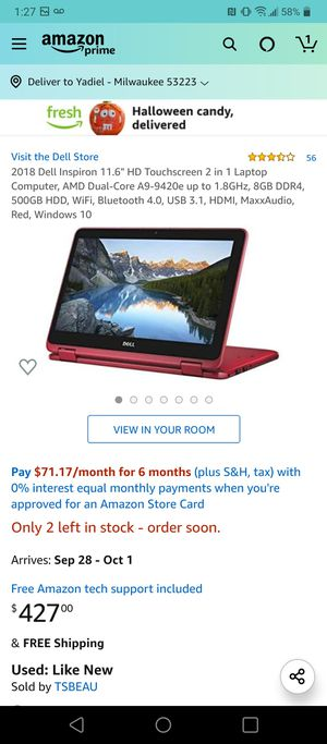 2018 Dell Inspiron 11.6 for Sale in Chicopee, MA
