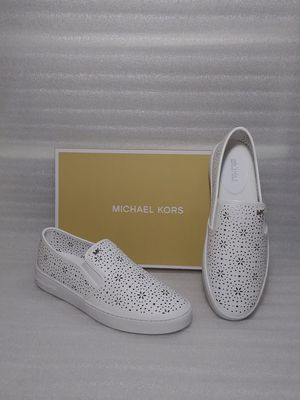 Michael Kors slip on flats sneakers. Size 9 women's shoe. White leather. Brand new in box for Sale in Portsmouth, VA