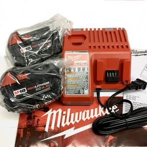 LOT 3 - NEW! (2) Milwaukee M18 XC 4.0 Battery + (1) Charger Dual Extended REDlithium m12 18v 4 rapid super for Sale in Vancouver, WA