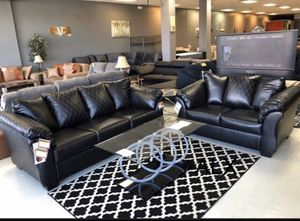 Black leather Sofa & couch & loveseat & Living Room Set for Sale in Houston, TX