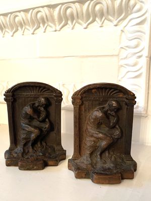 Antique Art Nouveau Rodin's The Thinker Cast Iron Bronze Finish Bookends for Sale in Norwalk, OH