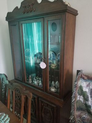Solid wood dining table and China hutch with storage for Sale in Yelm, WA