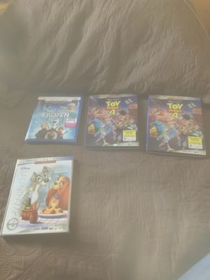 Blu-ray Disney movies, Toy Story 4, Frozen, Lady and the Vagabond and the Lion King for Sale in Bell Gardens, CA