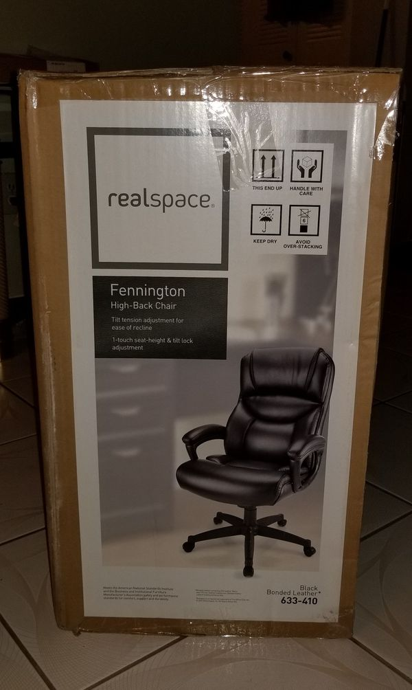 official photos 8beb0 ffc6b Realspace Fennington Bonded Leather High-Back Chair, Black for Sale in  Miami, FL - OfferUp
