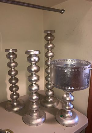 4 candle holders and metal shade for Sale in Tampa, FL
