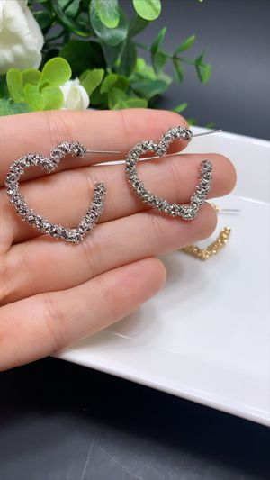 Open Heart Stud Earrings Gold Plated, Silver Color for Sale in Irvine, CA