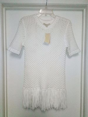 MICHAEL KORS White Fringe Trim Knit Sweater - Sz S NWT $155 Retail for Sale in Lake Forest, CA
