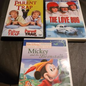 Parent Trap + The LOVE BUG + MICKEY AND THE BEANSTALK DISNEY DVD LOT for Sale in West Sacramento, CA