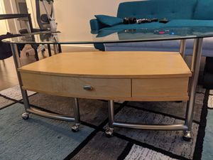 Glass/Wood Coffee table and two side tables set for Sale in San Francisco, CA