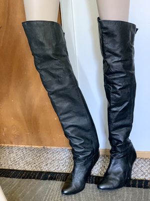 Vintage Pleaser Women's Thigh High Black Leather Pull On Over the Knee Boots 6.5M for Sale in Mountain View, CA